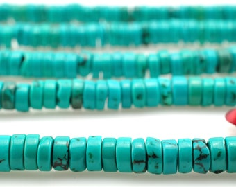 15 inches of Turquoise smooth wheel beads in 2X4mm