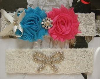 Something Blue / Wedding Garter / Blue & Hot Pink / Bridal Garter / Toss Garter / Vintage Inspired / Lace Garter