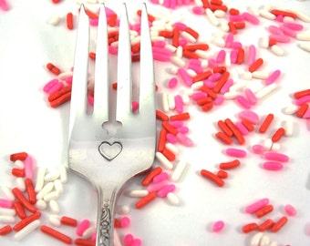 Heart Fork - Hand Stamped Vintage Silverware