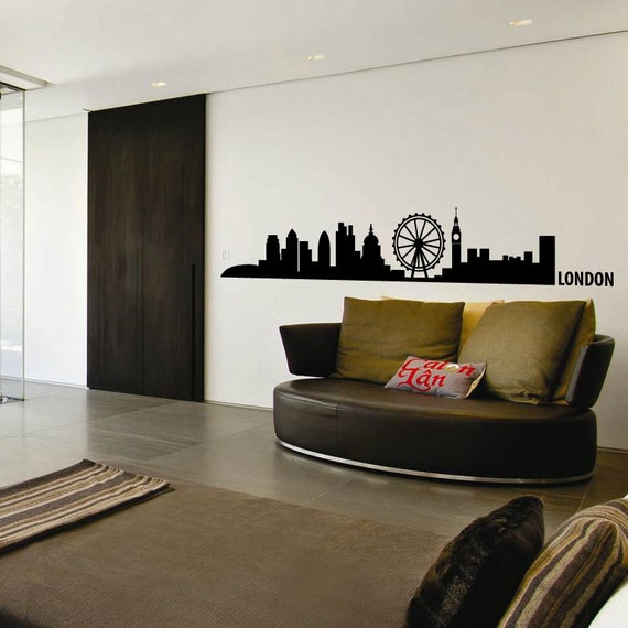 London Skyline Wall Decal Cute Vinyl Sticker Home Arts Europe City Wall Decals England WT101