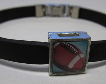 Sport Football Link With Choice Of Colored Band Charm Bracelet