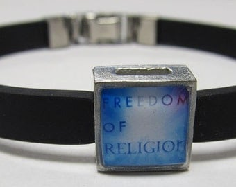 Freedom Of Religion Support Link With Choice Of Colored Band Charm Bracelet