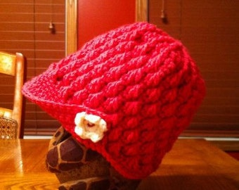 Flapper Style Hat, with Flower Applique