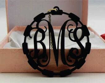 3 Initial Acrylic Monogram Necklace ( Monogram Jewelry Laser Cut Acrylic Necklace ) Monogram Gift