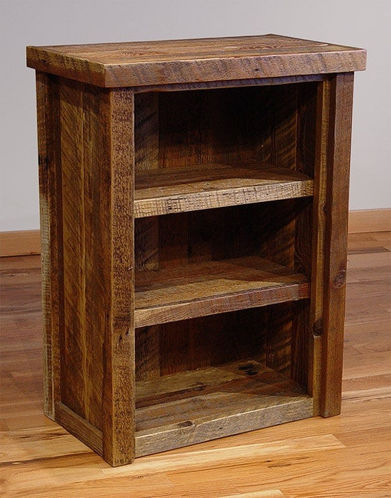 Wood Bookcases Furniture ~ Reclaimed barn wood rustic heritage bookcase small