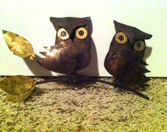 70s vintage Owls Perched on a Branch Wall Decor