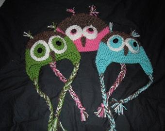Crochet Owl Hat with Earflaps
