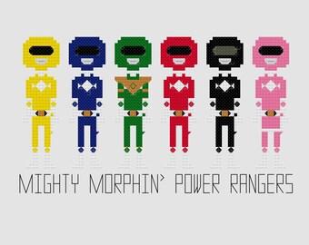 Cross Stitch Pattern - Mighty Morphin' Power Rangers//Craft Supplies//PDF Pattern//Instant Download//Digital Download