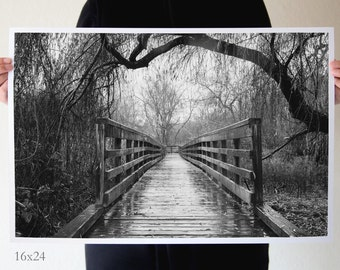 black and white bridge photo fine art nature photography, willow trees rain, pathway, 6x9, 8x12, 16x24
