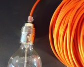 Pendant lamp with 5m textile / fabric covered cord with brass or silver finish fitting