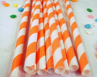 50 Orange Striped Paper Straws