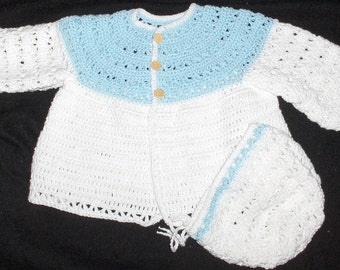 Crochet jacket and hat, crochet baby set, baby coat, jacket and hat