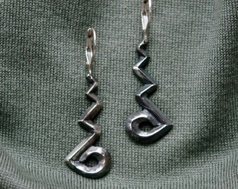 Sterling Silver Abstract Zag-Zag earrings