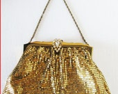 vintage whiting and davis gold metal mesh evening bag with rhinestone clasp