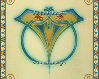 AN007 - Gloss Ceramic or Glass Tile - Vintage Art Nouveau Reproduction Tile.(Blue and Cream) - Various Sizes