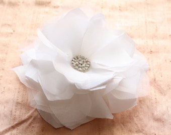 SALE! Bride Head Piece, Wedding Bride/Bridesmaid White Flower Bloom Hair Accessory with Rhinestones/Brooch