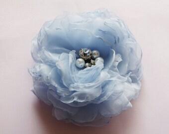 SALE! Bride Head Piece, Wedding Bride/Bridesmaid Pale Blue Flower Bloom Hair Accessory with Pearls & Rhinestones