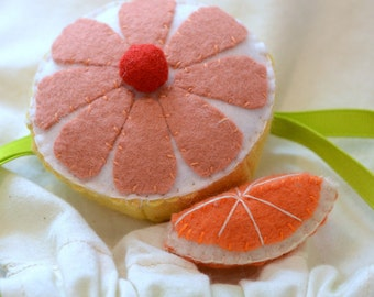Felt Food Grapefruit Half and Orange Slice Children's Play Food