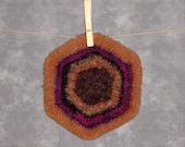 Striped Felted Wool Pot Holder - Trivet Brown Fuschia Gold Black