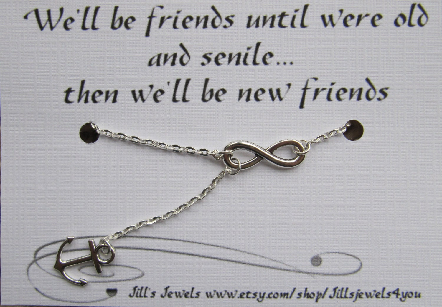 Infinity And Anchor Charm Necklace And Funny Friendship Quote