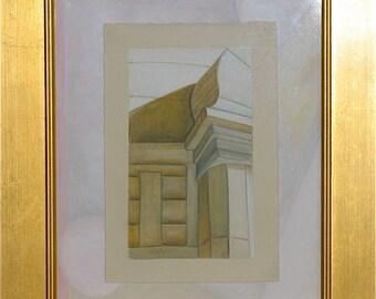 gouache painting, Stupa, original, on paper, detail, at Rajgir, framed, AdornDC