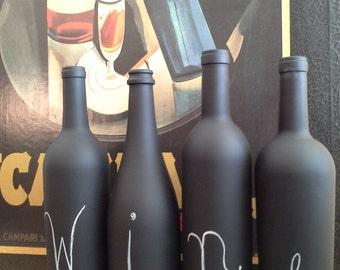 4 Piece set - Chalkboard Wine Bottle
