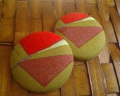 Extra Large Button Earrings-Hot Tamale
