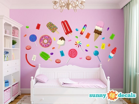 Jumbo candy fabric wall stickers wall decals for by for Candy wall mural