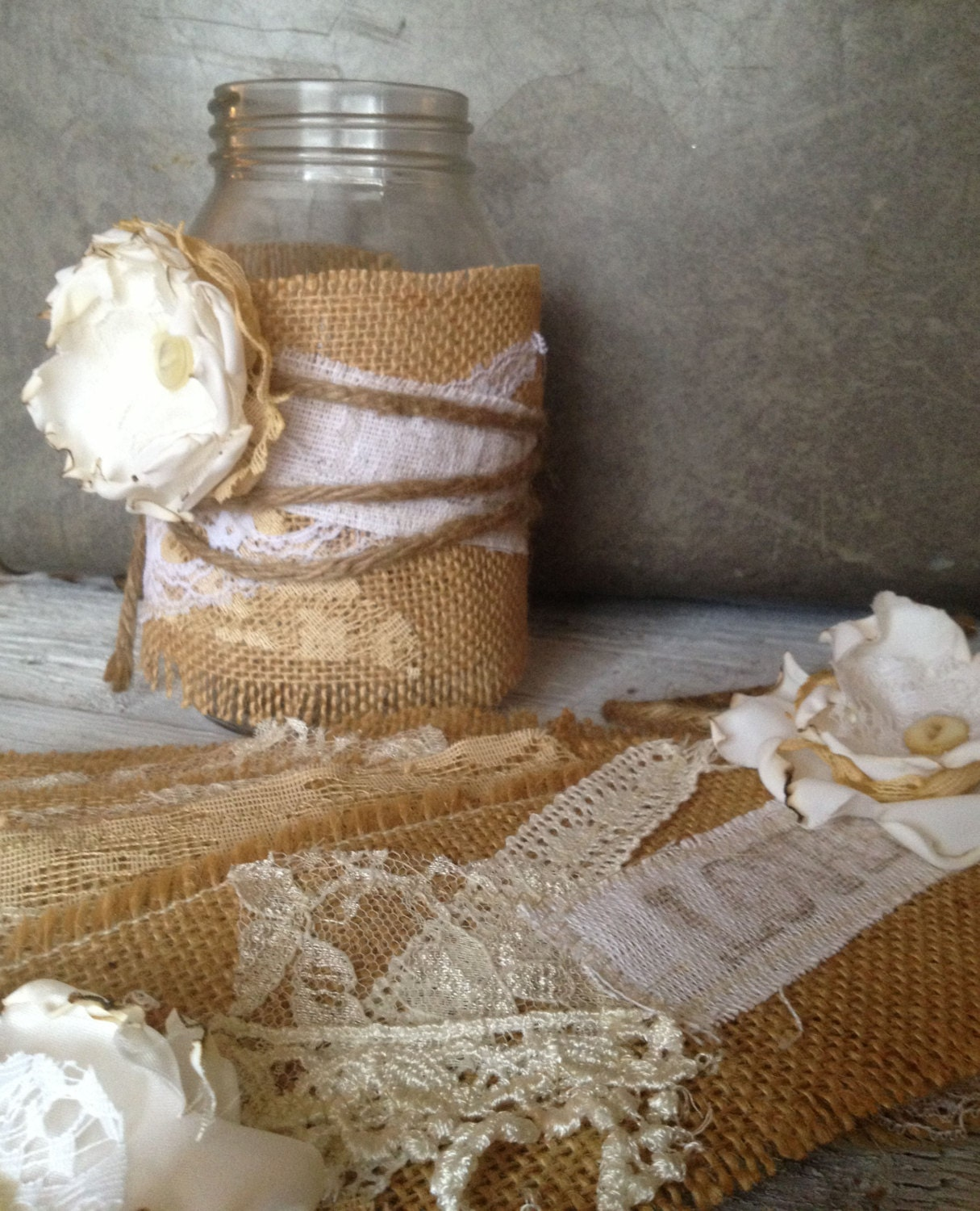 Mason Jar Ideas For Weddings: Rustic Wedding Decor For 20 Jars Rustic Centerpiece Burlap