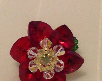 Red Flower Ring with stretchy band