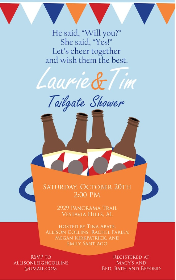 Items similar to tailgate couples shower invitation on etsy for Bathroom ideas for couples