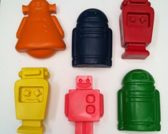 set of 6 robot crayons - party favor - coloring - birthday - handmade - goody bag