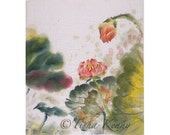 Lotus & Leaves II Asian Brush Painting on Rice Paper hand made card printed on linen paper.