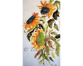 Sunflower I Asian Brush Painting on Rice Paper hand made card printed on fine linen paper.