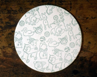 Sage Green Baby Playthings Letterpress Coaster Set of 20 Baby Shower Decorations Gifts Favors