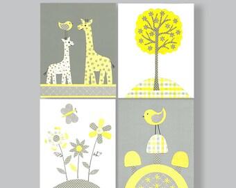 Gray and Yellow Nursery Wall Art Print, Giraffe Nursery Art, Birds, Flowers, Tree, Girls room Decor, Butterflies, Baby Girl, Baby Shower