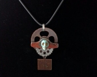Watchworks Skull Necklace Mixed Media Jewelry