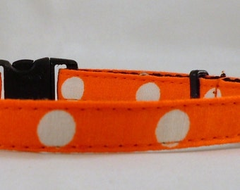 Cat Collar - Orange Polka Dots