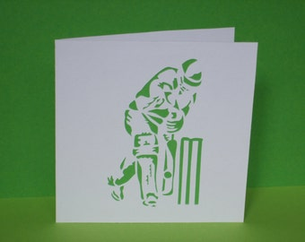 Cricket Card - Paper Cut Cricketer - Card for a Man, Card for Dad's Birthday