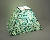 Rectangular Handmade Paper Lampshade, with Turquoise Flecked Paper
