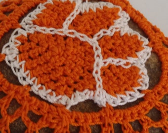 Crocheted RIver Rock, Paw Paperweight, Crochet Lace on Stone