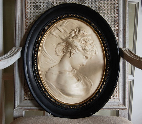vintage plaster oval wall cameo