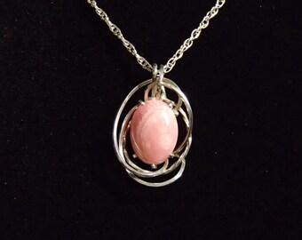 Necklace, Rhodochrosite and Sterling Silver Wirewrap