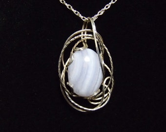 Necklace, Blue Lace Agate and Sterling Silver Wirewrap