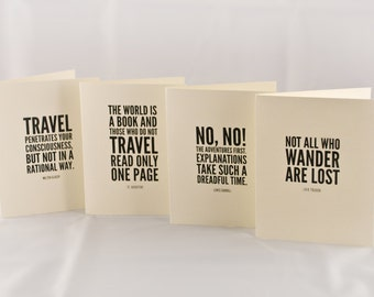 Quote Greeting Card Set / Typographic / Adventure & Wanderlust