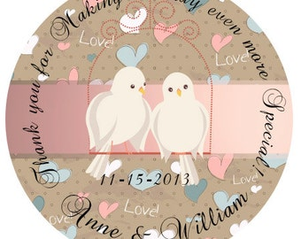 """Personalized Stickers  Wedding , Anniversary Personalized Labels Size 2.25"""" Bridal Shower Stickers"""