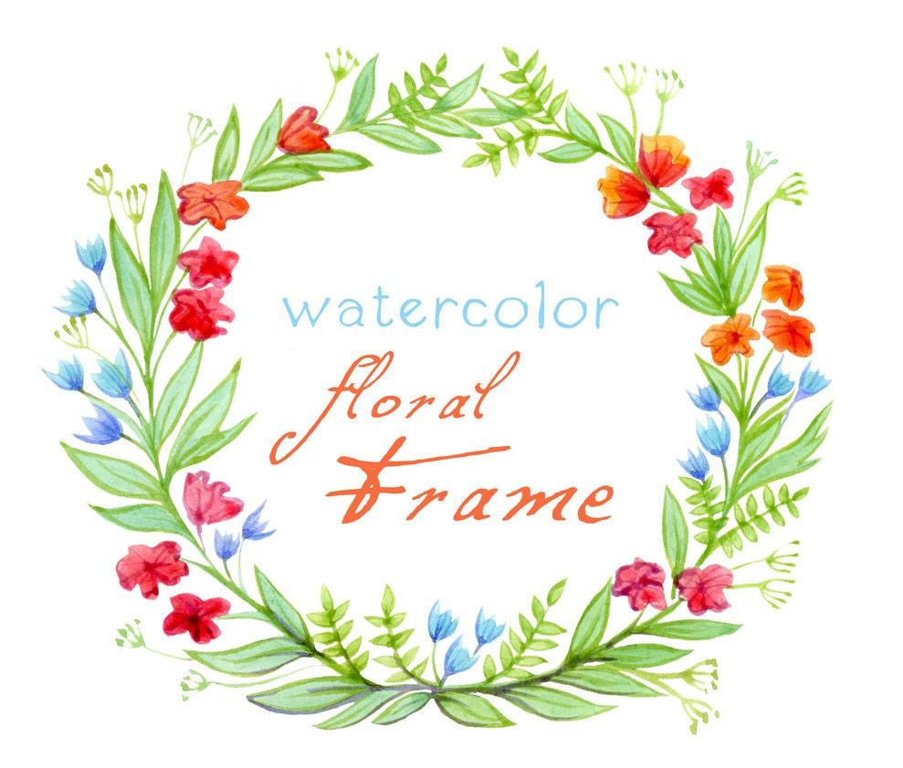 Digital Clipart Watercolor Flowers Floral Frame Watercolor