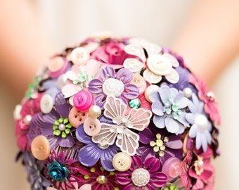 enamel brooch and button bouquet