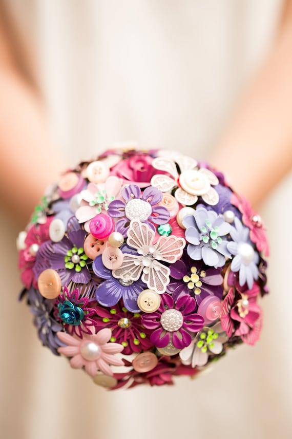 Button Bridal Bouquet Etsy : Enamel brooch and button bouquet