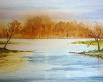 Fine art print of my original watercolour painting.  Sunset over a lake.